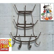 Wall Mount Mug Rack Holder Coffee Cup Hook Hanger Kitchen Storage Dining Decor