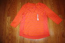 NWT Womens Greensource Orange Pink Striped Henley 3/4 Sleeve Shirt Size 2XL XXL