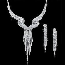 Clear Austrian Rhinestone Crystal Necklace Earring Set Wedding Bridal Prom Party