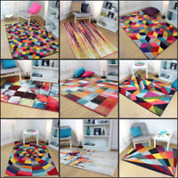 Modern Hand Carved Geometric Multi Colour Rainbow Rug in 9 Design and 3 Sizes