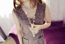 Fashion Charm Women Pearl Flower Sweater Chain Long Pendant Necklace Jewelry
