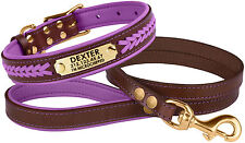 Leather Dog Collar Leash Set, Personalized Dog Collar Puppy Small Large