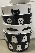 222 Fifth Ghost & Ghouls Appetizer Bowls Set Of 4 Halloween Bat Skull Spooky Boo