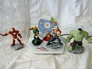 XBOX 360 DISNEY INFINITY DISC WITHOUT BOX, PORTAL AND 4 SUPERHERO FIGURES