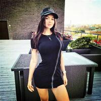 Women Sexy Elegant Bodycon Knit Sweater Zipper Slim Mini Dress Party Club Black