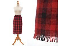 Size S 1950s red plaid skirt buffalo wool 50s pencil high waist small