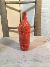 Orange Wavy Swirl Textured Design Art Ceramic Decorative Vase 509