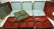 Vtg Lot 7 DOW STYRON swirl PLASTIC Divided Lunch Box Cafeteria Plates Picnic