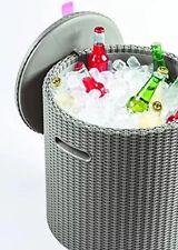 Keter Knit Cool Stool Outdoor Cool Bar Ice Cooler Garden Furniture  Brown Dune