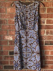 Tory Burch Womens Sz  2 Brown Blue White Print 100% Silk Sleeveless Dress Lined