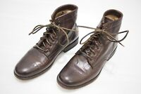 Frye Tyler Brown Leather Lace-Up Boots Casual Round Toe Womens 8