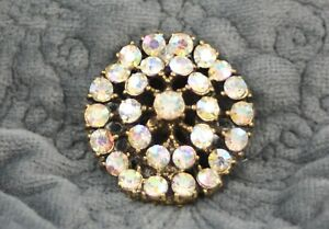A lot of vintage clear rhinestone buttons 2 pairs and 1 set of 3; good for sewing projects or vintage embellishments.