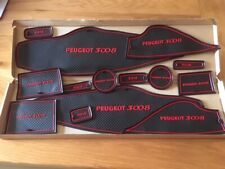 PEUGEOT 3008 (2013 - 2017) INTERIOR DASHBOARD MAT GATE PAD TRIM SET - RED ONLY
