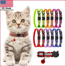 12Pack Adjustable Reflective Nylon Cat Safety Collar with Bell for Cat Kitten