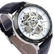 IK Skeleton Black Genuine Leather Automatic Self-Wind Mechanical Retro Men Watch
