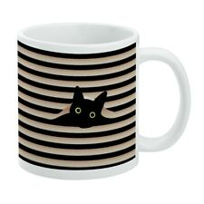 Black Cat In Window White Mug