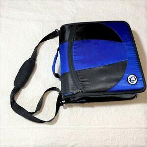 Case it dual D ring zip 2 sets of 1.5-inch rings zipper black & blue binder EUC