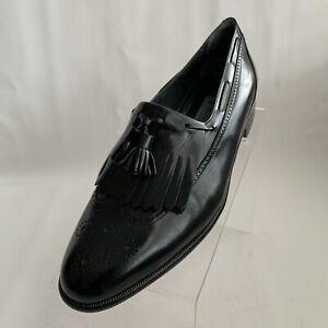 Bruno Magli Totus Loafers Black Leather Wingtip Kiltie Tassel Shoes Size 10.5M