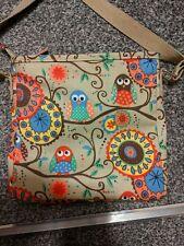 Oil cloth Owl hand bag cross body shoulder bag, small