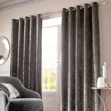Rideaux et cantonnières gris avec anneau supérieur en polyester pour la maison