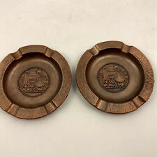 Vintage 1982 World's Fair Knoxville Set of 2 Metal Copper Tone Ashtray Souvenir