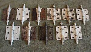"Vintage Lot 11 Cast Iron Steeple Hinges -- 3 1/2"" x 3 1/2"" (9) & 3 1/2"" x 3"" (2)"