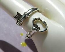 Skeleton KEY Steampunk Silver finish Ring ROMANTIC Neo Victorian ADJUSTABLE