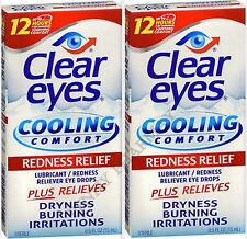Clear Eyes Cooling Comfort Eye Drops, Redness Relief - 0.5 fl oz. (2 Pack)