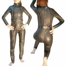 Womens Real Leather Catsuit Lederoverall Long Zipper Sexy Dress Cat suit Romper
