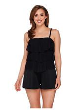 Fit 4 U Black One-Piece Bandeau V-Tiered Mesh Romper Swimsuit--NWT--Reg 10