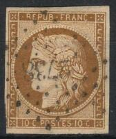 "FRANCE STAMP TIMBRE 1 "" CERES 10c BISTRE-JAUNE 1850 "" OBLITERE PC2738  TB  M175"