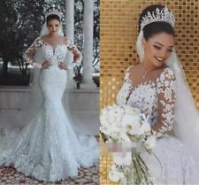 2018 Mermaid Scoop Wedding Dresses Bridal Gowns Long Sleeve Applique Custom Made
