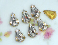 #724 Vintage Rhinestones Crystal Prong Pronged Setting Pear Shape 6x10mm Tear