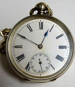 + Taschenuhr Schlüsselaufzug 0,935 Silber England/ USA um 1880 mit Uhrenkette +