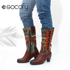 SOCOFY Womens Cowhide Leather Mid-calf Boots Ladies Jeans Fashion Shoes Buckle