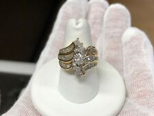 10K Yellow Gold Marquise and Round Diamond Cluster Ring - 1.00 TCW (Size 7.25)