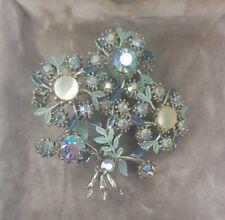 Rare Vintage Blue Aurora Borealis Style Flower Brooch Gift Costume Jewellery