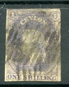 Ceylon 1857-59 1s slate-violet SG10 used 4 margins cat £200