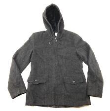 St. Johns Bay Womens Jacket Coat size Small Black Wool Blend Hooded