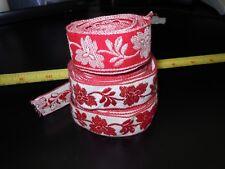 Vintage Jacquard Ribbon, Fabric Trim Sewing  Red & White