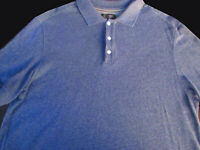 Nordstrom Mens Pullover Knit Short Sleeve Blue Gray Cotton Polo Shirt Large L