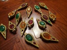 Vtg Victorian Style Hard Plastic Jeweled Christmas Ornament Light Covers 15pc