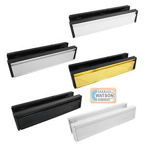 """10""""/12"""" Anti-Vandal UPVC Door Letter Plate Letter Box WHITE BLACK BRASS CHROME"""
