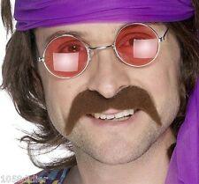 MOUSTACHES Chatain DISCO Déguisement Adulte Homme Costume Année 1980 Moustache