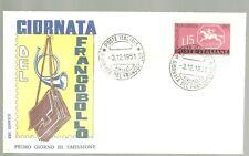 ITALIA BUSTA PRIMO GIORNO 1961 GIO. FRANCOBOLLO ANNULLO SPECIALE FIRENZE    FDC