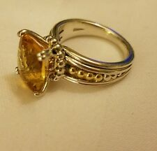 $695 LAGOS 18k gold and Sterling Silver Prism Citrine Ring sz 7