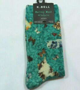 K Bell Womens Merino Wool Blend Kittens Butterflies Green Crew Socks Size 9-11