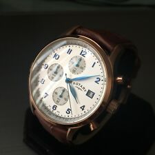 Para hombres Reloj Rotary Fecha de Acero Azul con Cronógrafo Clásico Marrón Cuero Rosa Genuina