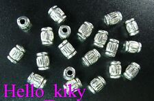 250Pcs Tibetan silver tiny lined tube spacers 6mm A438