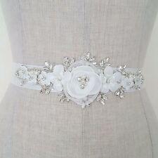 Bridal Wedding Dress Belt Bride Sash Ivory Flowers Pearl Sparkle Ribbon B120